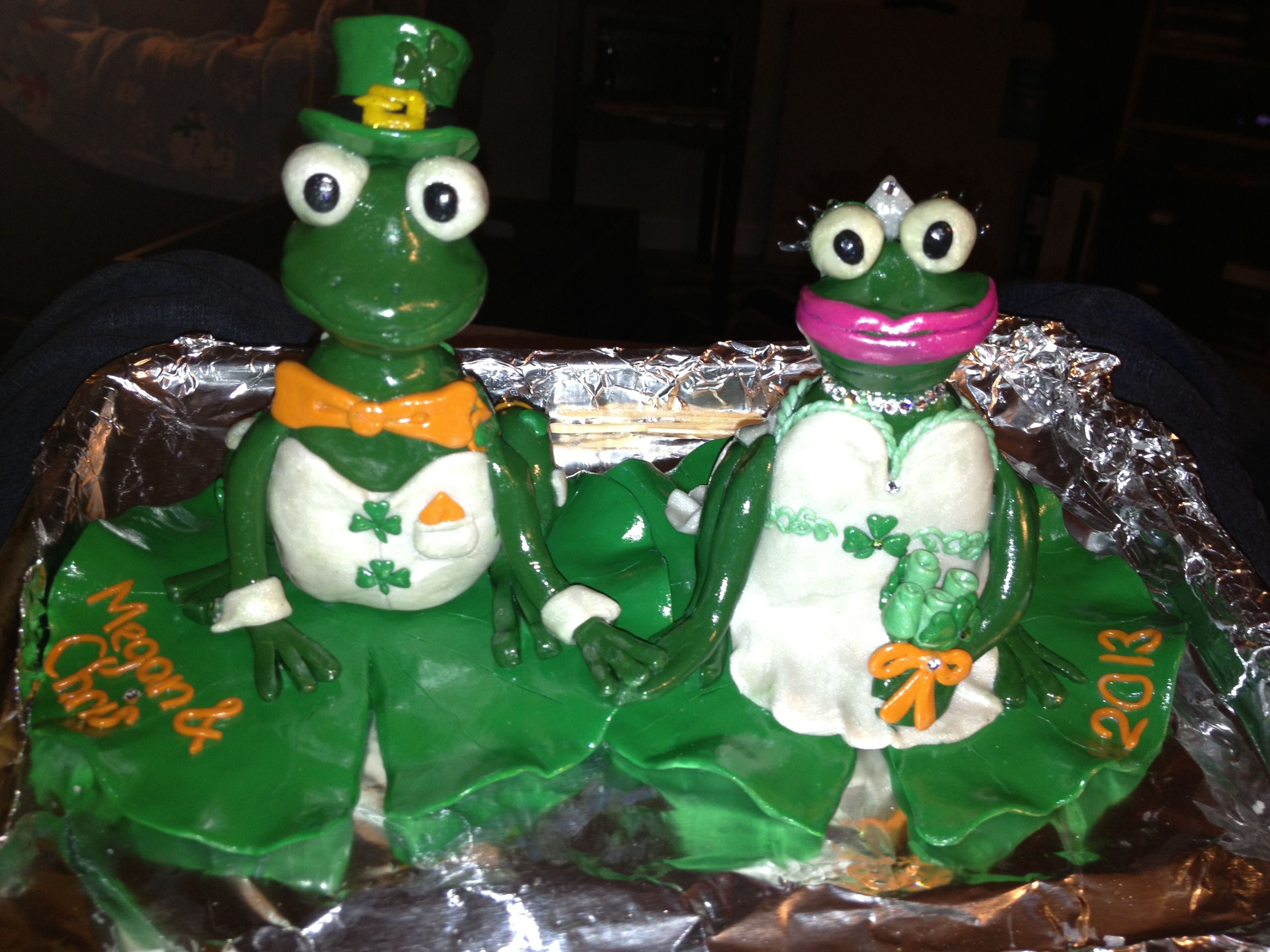 Irish frogs wedding cake topper made from clay Wedding