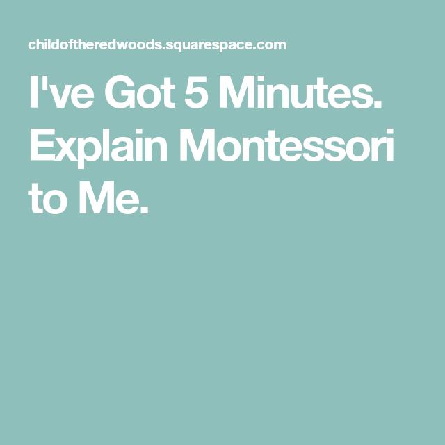 I've Got 5 Minutes. Explain Montessori to Me.