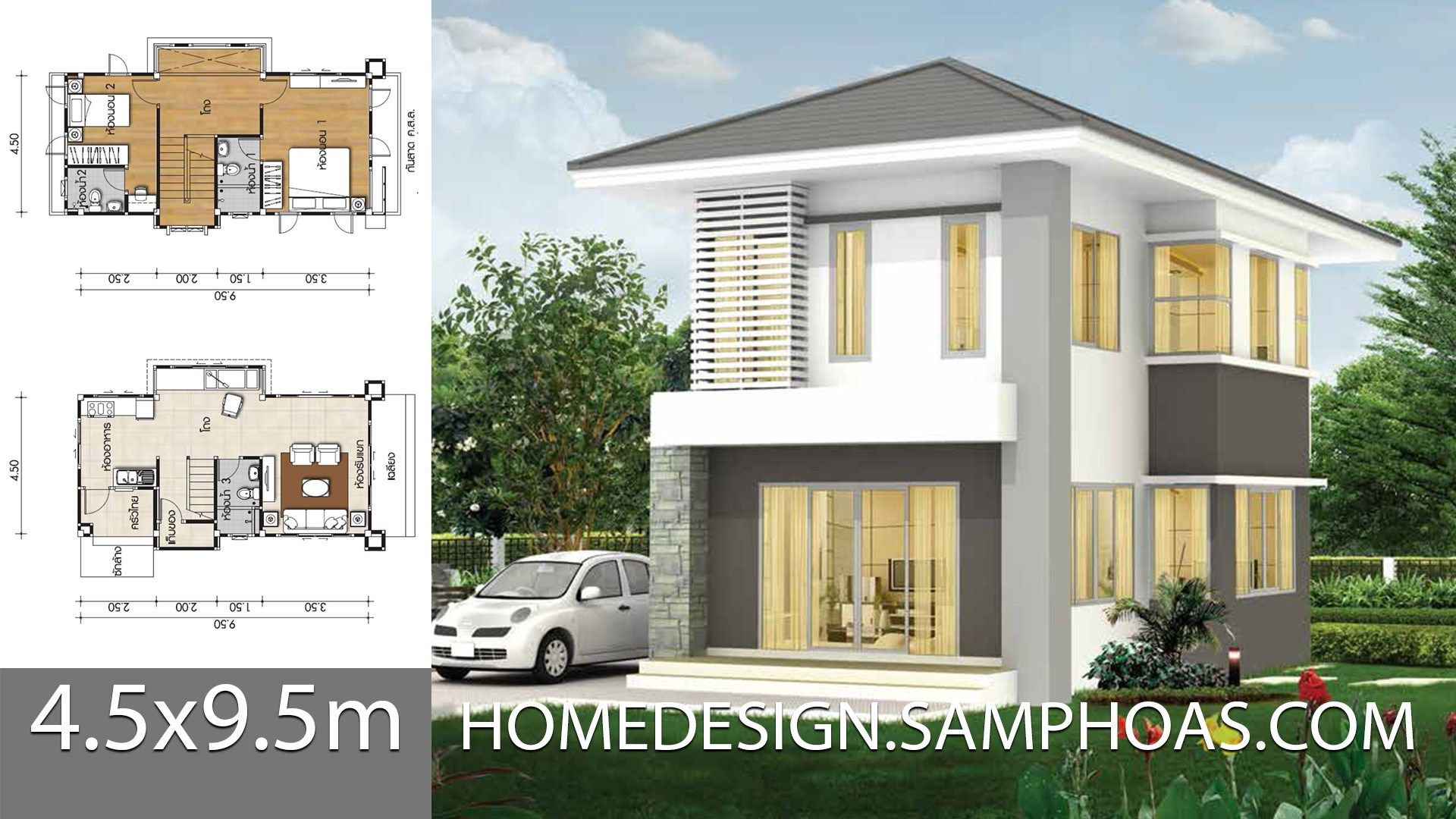 Small House Plans 4 5x9 5m With 2 Bedrooms Ground Level Car Parking Outside Living Room Dining Room Kitchen Back In 2020 Small House House Plans Small House Plans