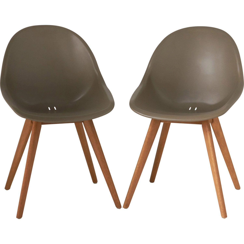 Lot de 2 chaises en résine injectée St tropez taupe