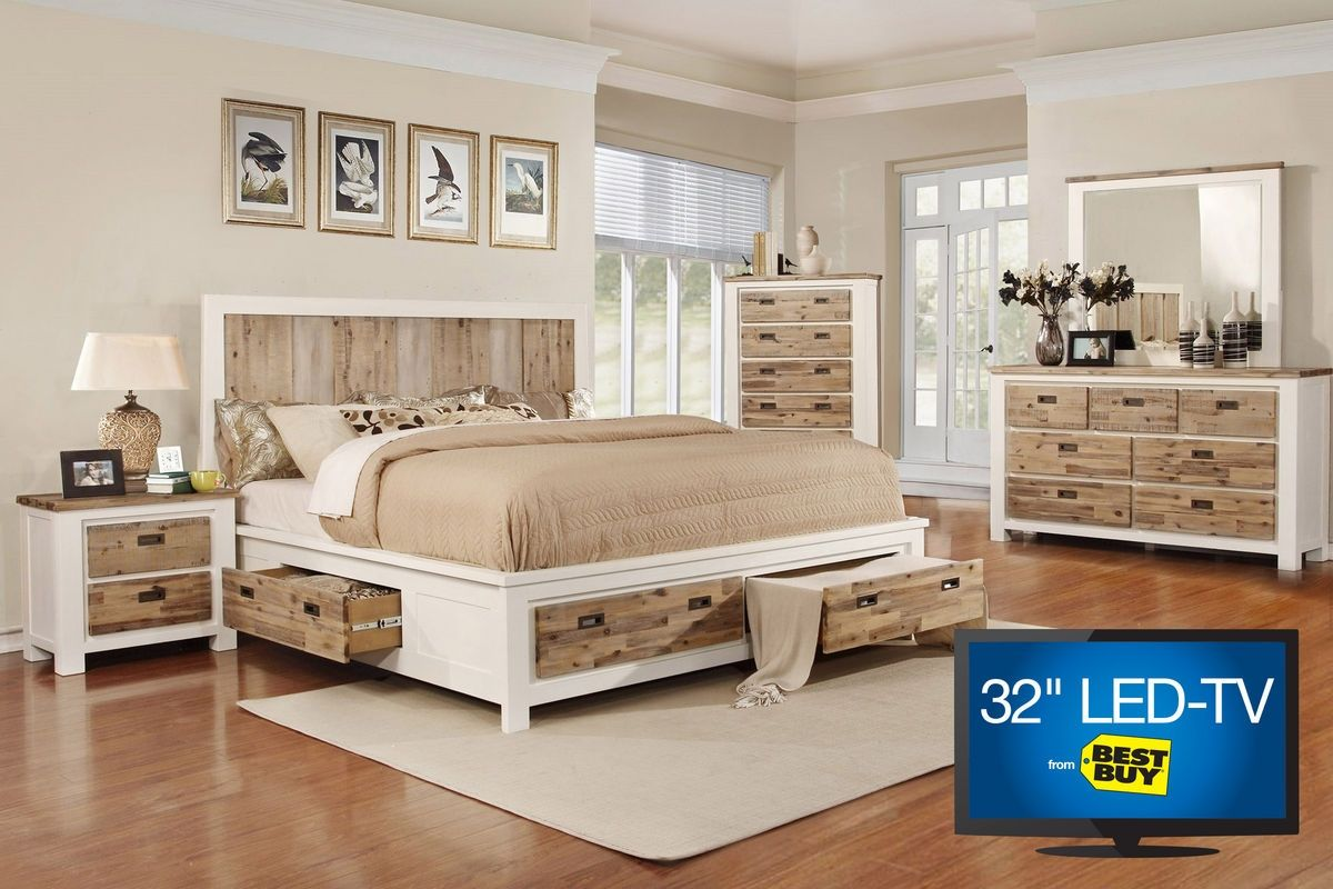 Functionality And Style Come Together Effortlessly With The Western King Bed.  This Two Tone Bed Features A Natural Wood Finish With Side And Footboard ...