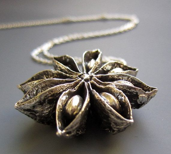 Amazing sterling pendant cast from a natural star anise pod.  by iacua.