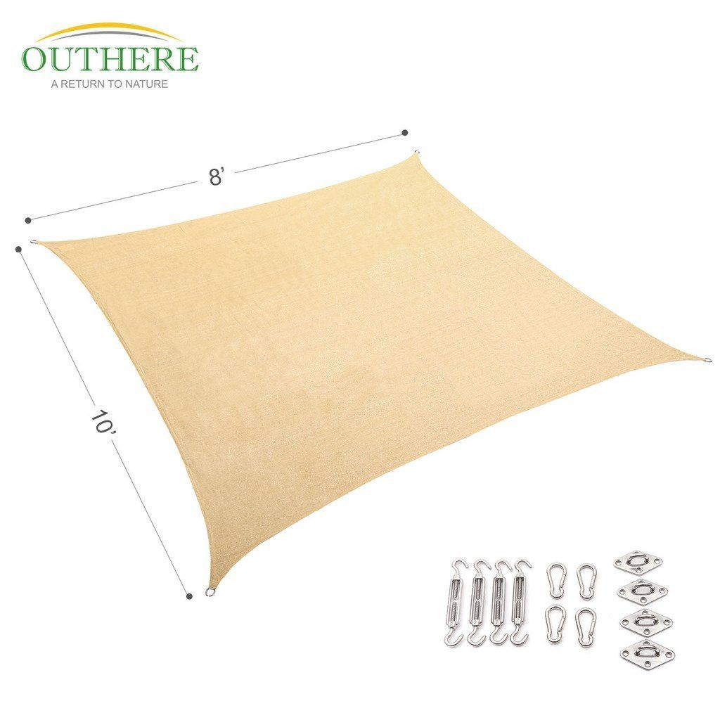 Amazon.com : Outhere 8'X10' Sun Shade Sail Rectangle Canopy with Stainless Steel Hardware Kit - Durable Outdoor UV Shelter for Patio Lawn - Golden Sand Color : Patio, Lawn & Garden