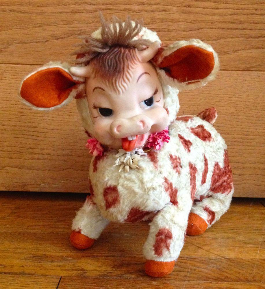 Vintage Rushton Daisy Mazie Rubber Face Plush Stuffed Cow
