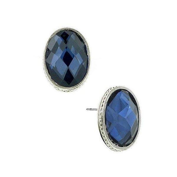 1928 Jewelry Liliana Navy Blue Jewel Button Earrings found on Polyvore