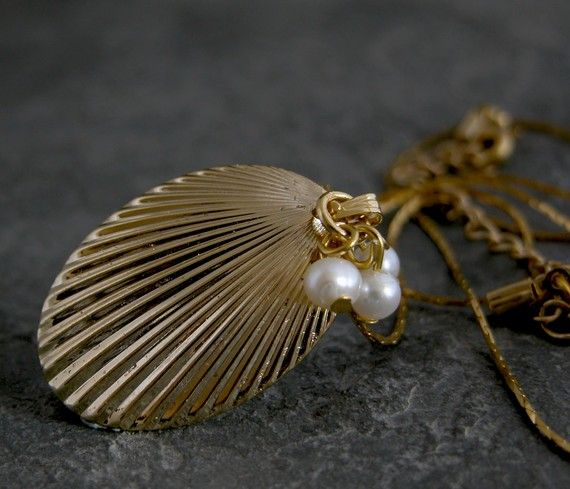 Gold Pearl Seashell Necklace Ocean Jewelry Statement Necklace