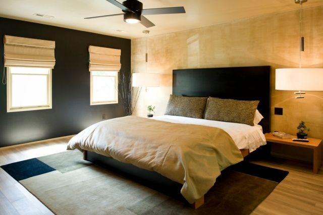 asiatisch inspiriertes Schlafzimmer Design-schwarz und gold ...