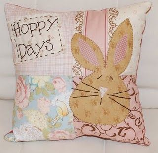 Hoppy Days Easter Pillows Bunny Quilt Applique Quilting
