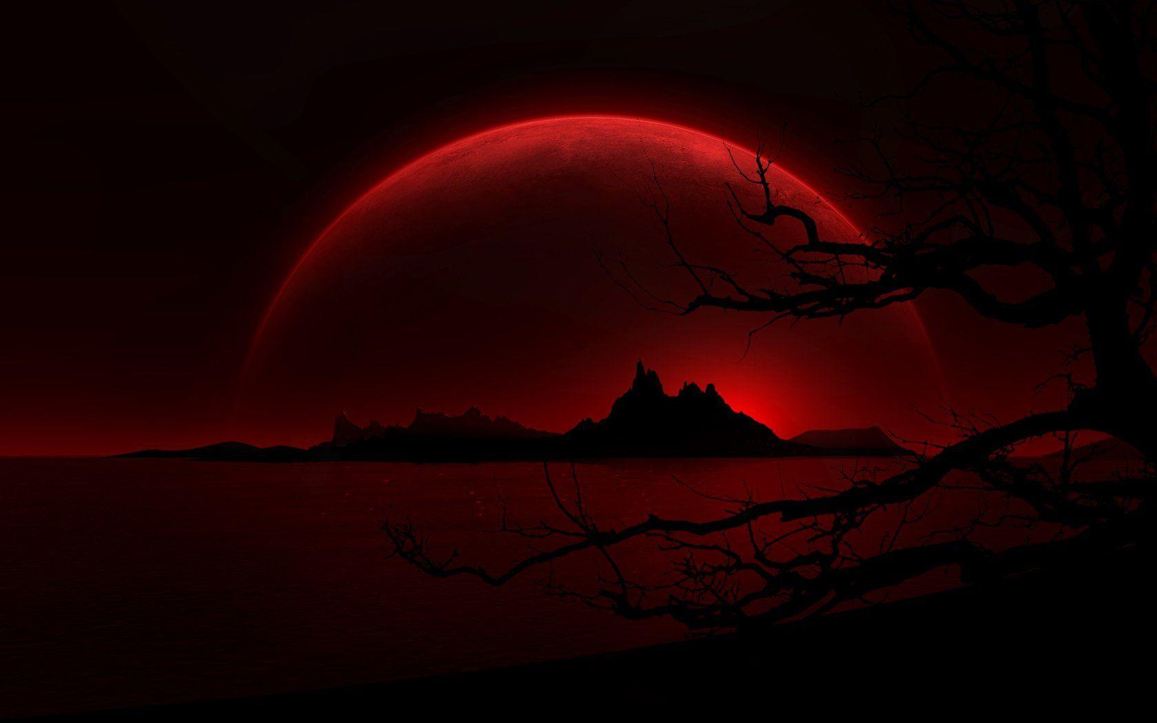 Dark Landscape Red Moon Crimson Night Dark Black Wallpaper Papel De Parede Vermelho Escuro Papel De Parede Vermelho E Preto Papel De Parede Vermelho