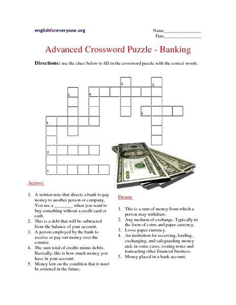 Advanced Crossword Puzzle Banking Worksheet Crossword Puzzle Banking Lesson Planet