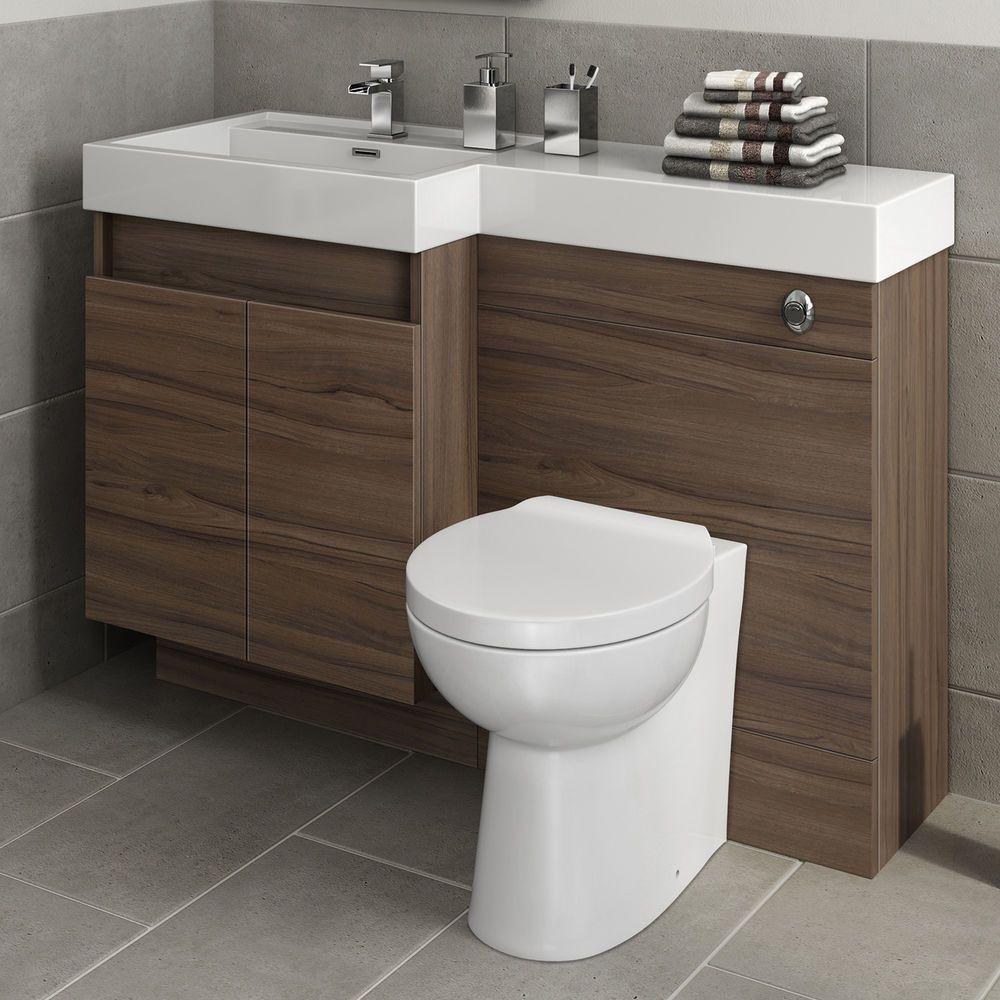 Modern Bathroom Walnut Vanity Unit Countertop Basin Back