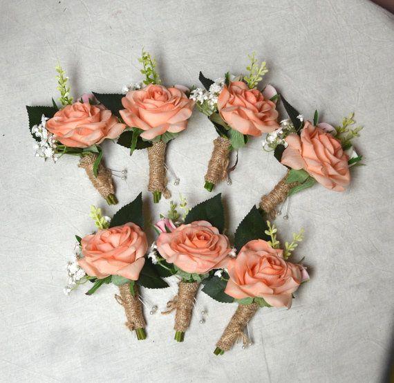 Silk Wedding Flowers Silk Boutonniere Orange Boutonniere Coral Boutonniere Wedding Boutonniere Coral Peach Boutonniere Rose Bouquet