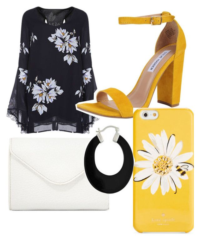 """brighten up the black dress #summer #flowers #wearblackinsummer"" by leah3000 ❤ liked on Polyvore featuring Steve Madden, Neiman Marcus, Kate Spade and Bling Jewelry"