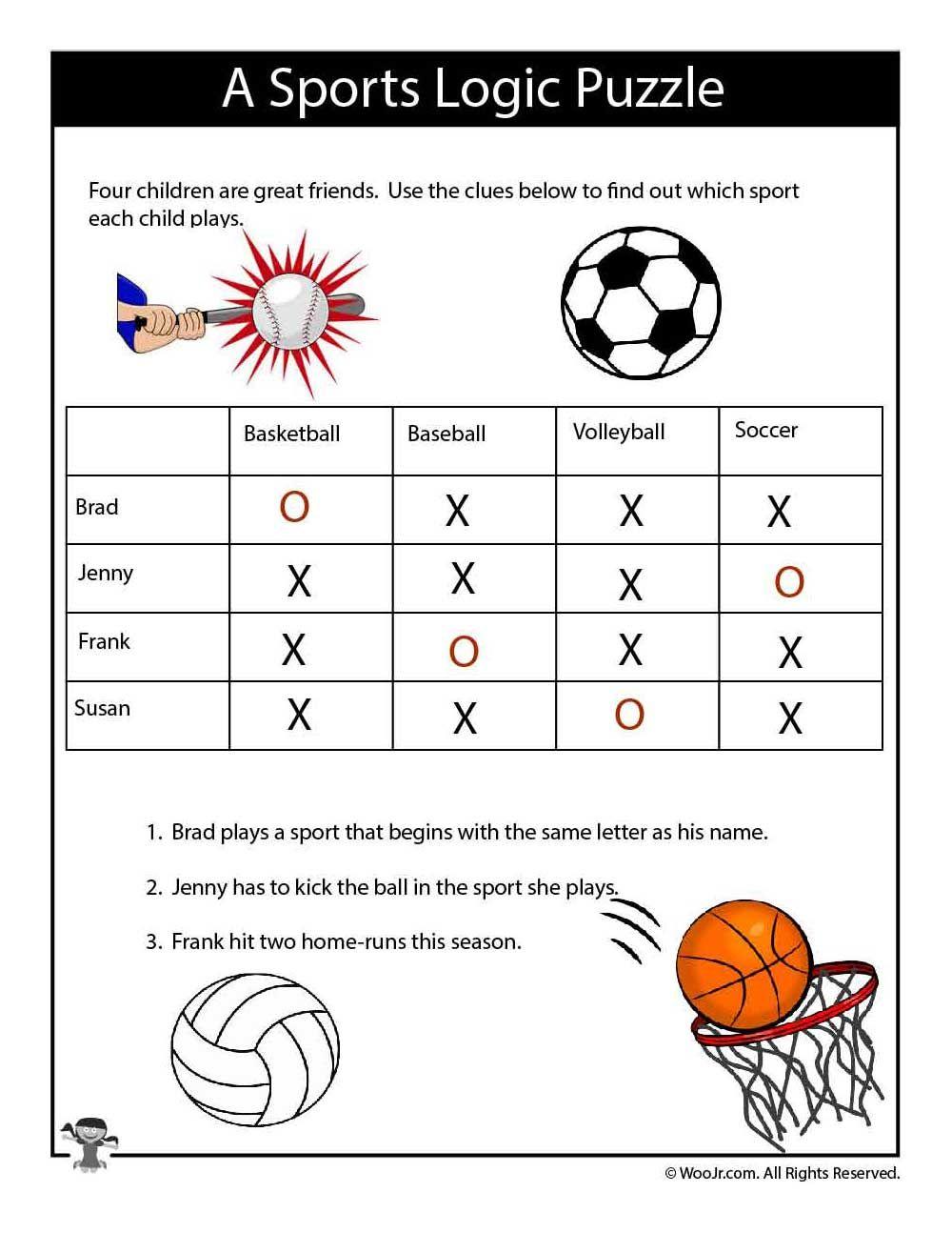 Easy Sports Logic Puzzle ANSWERS Logic puzzles