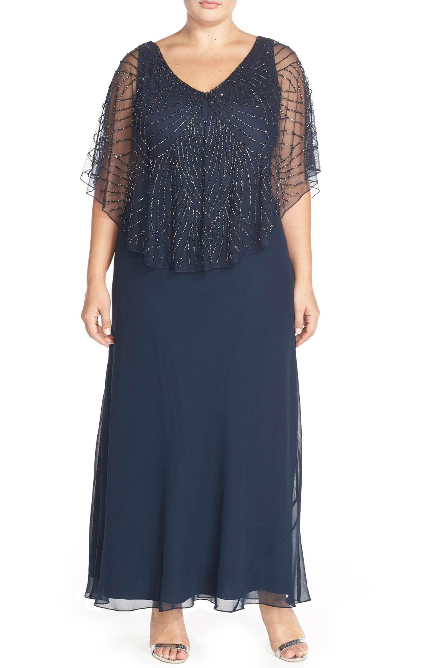 Main Image - J Kara Embellished Cape Overlay V-Neck Gown (Plus Size ...