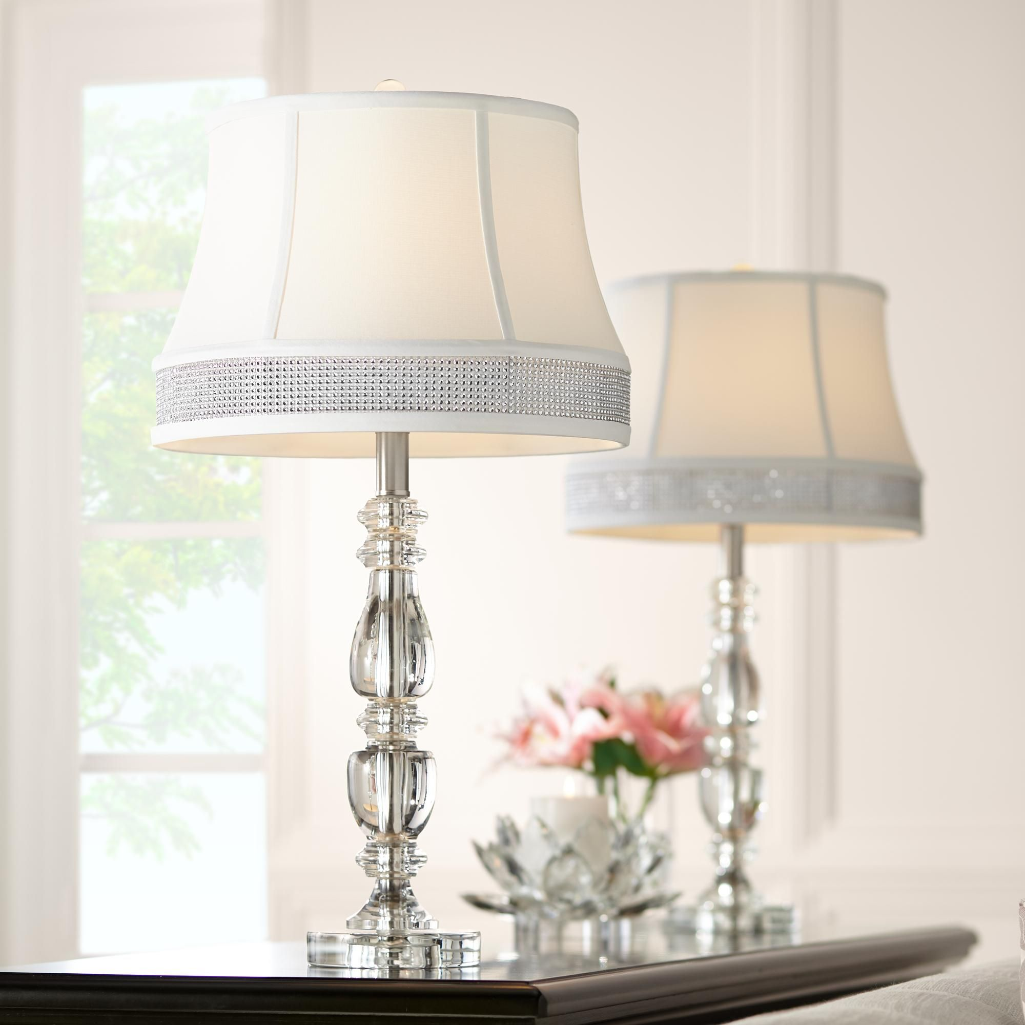 Table Lamps Ana Crystal Table Lamps Set Of 2 With Gallery Bling Shades Crystal Table Lamps Table Lamp Sets Traditional Table Lamps