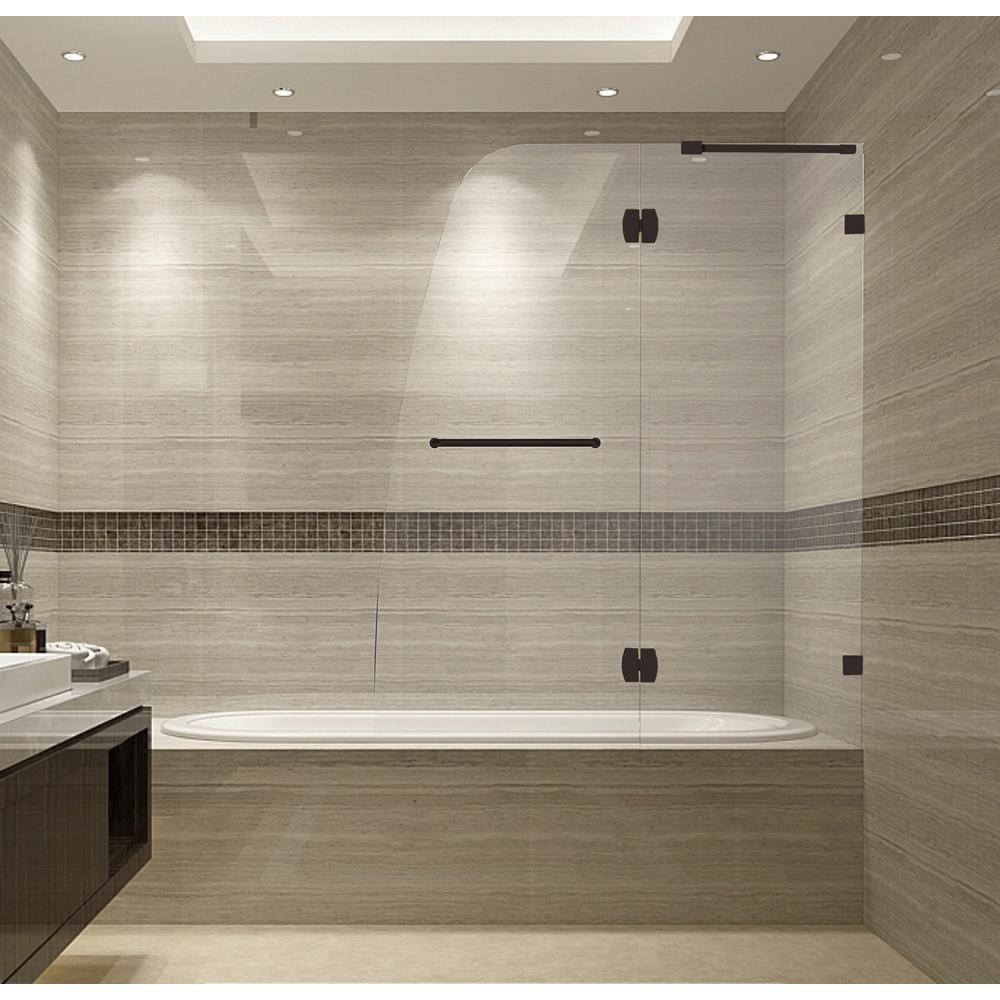 Aston Soleil 48 In X 58 In Frameless Hinged Tub Door In Bronze Small Bathroom Amazing Bathrooms Shower Doors