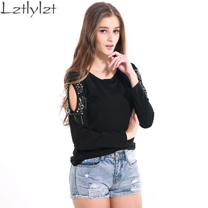 Blusas Black Rivet Hollow Out Shoulder Long Sleeve Tshirt Women Summer Tops Cotton Shirt Women T-shirt Clothes