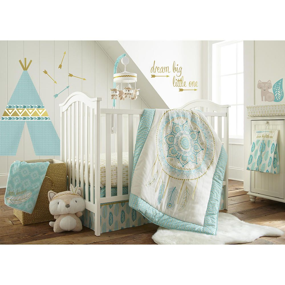 babies r us exclusive the little feather aqua nursery collection features aztec inspired prints. Black Bedroom Furniture Sets. Home Design Ideas