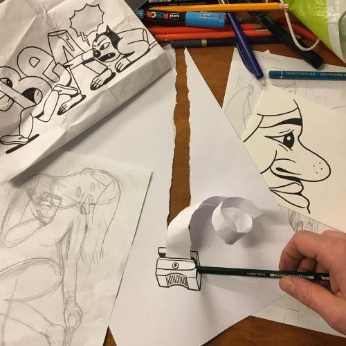 Husk Mit Navn Reloading Papirarbejde Pinterest Drawing - Creative comical paper drawings