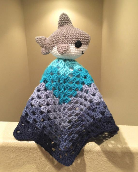 7e1d882470f Crochet Shark Baby Lovey by YarnCreationsByKarla