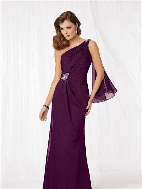 Floor Length Purple Mother of Dresses