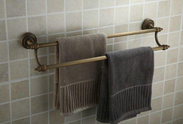 Antique Brass Finish Wall Mounted Double Towel Bar Tab2003 Towel Bar Bathroom Accessories Bar Oil