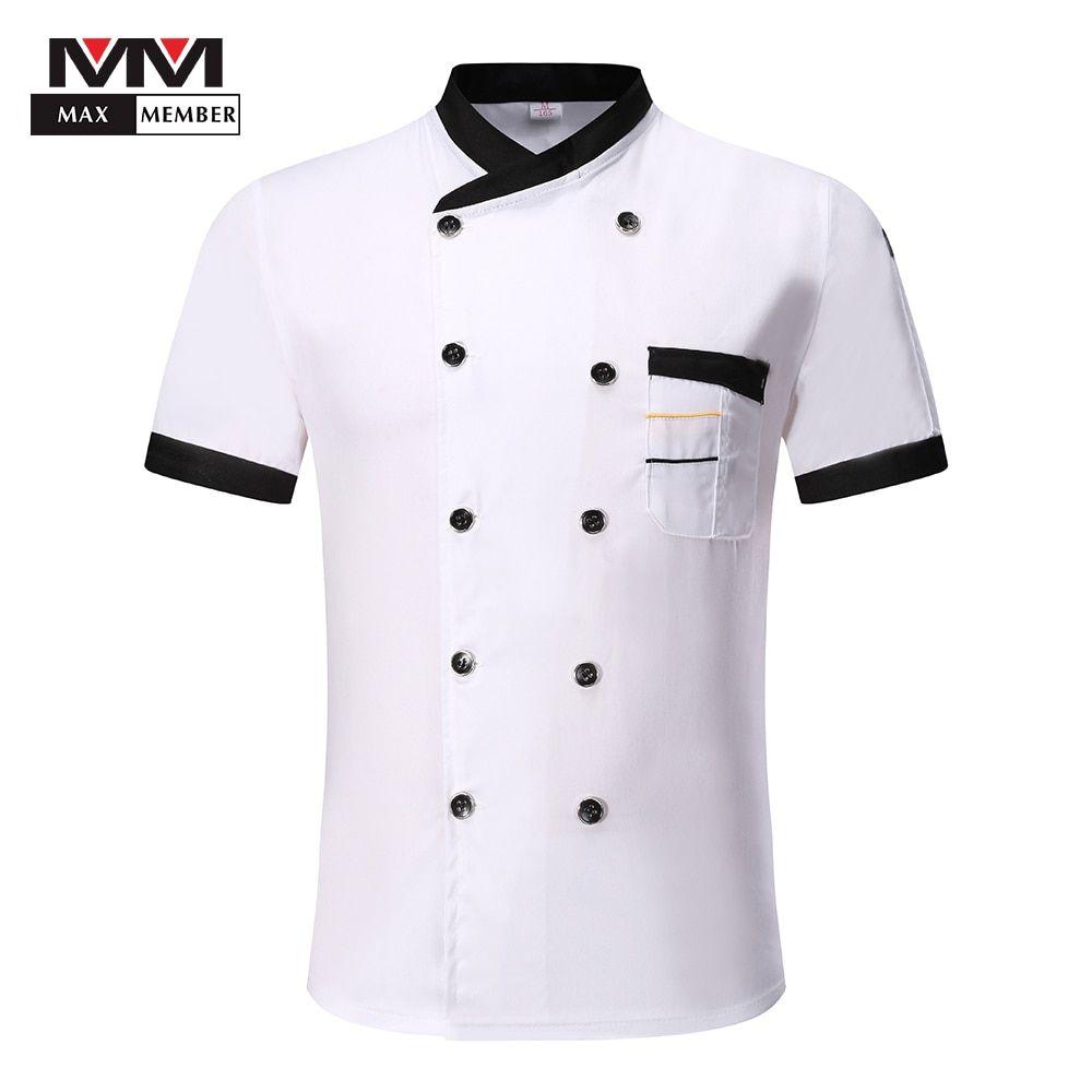 Unisex Chef Jacket Kitchen Hotel Uniform Breathable Short Sleeve Double Breasted