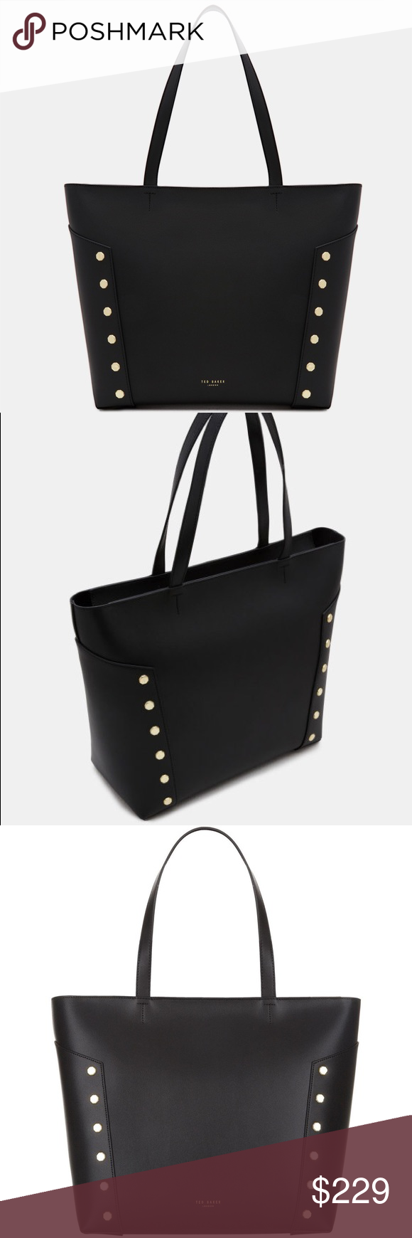 857606b33 TAMIKO Studded edge leather shopper bag Classic in its shape but modernised  by the detail