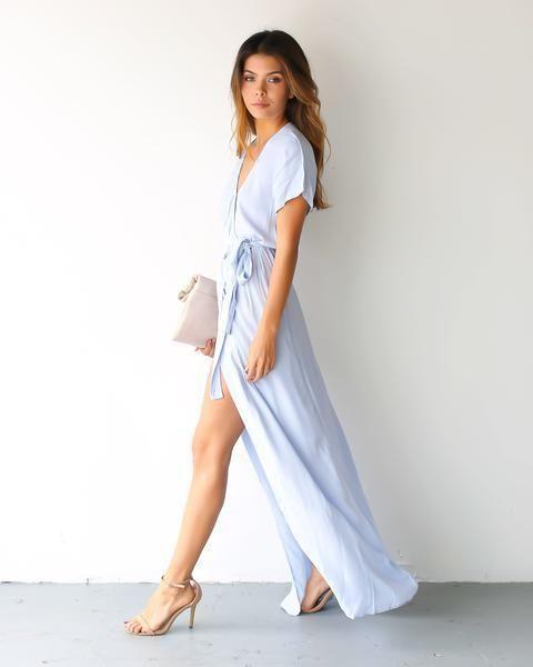 Solid Bardot Wrap Dress Powder Blue