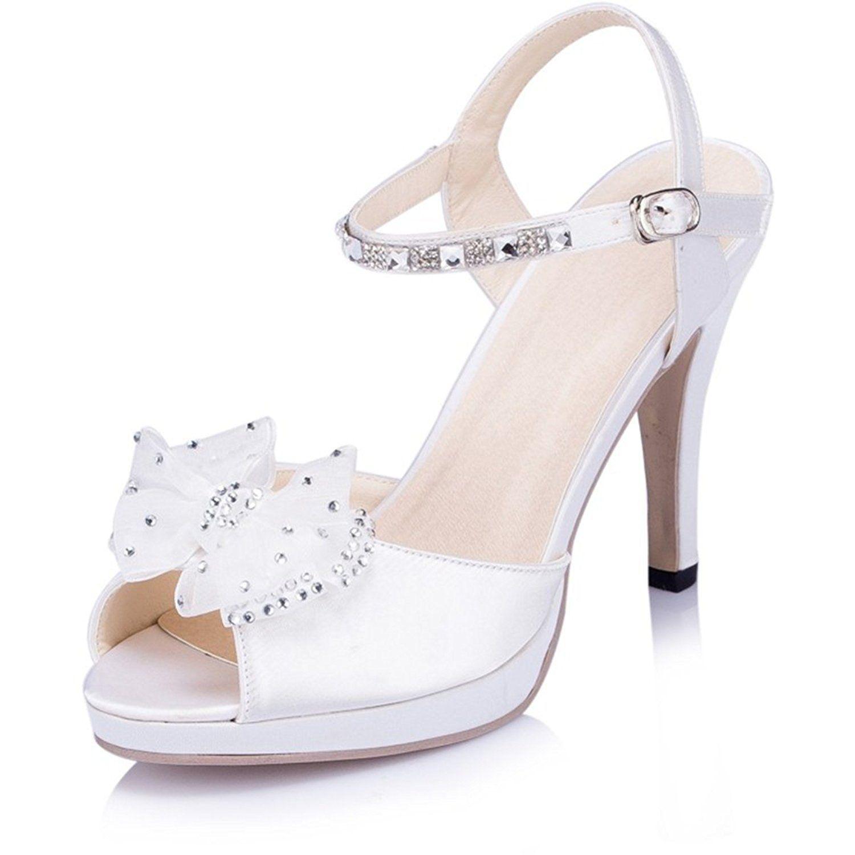 Kevin Fashion JYG278 Womens Sligback Crystals Satin Bridal Wedding Party Evening Prom Sandals Read