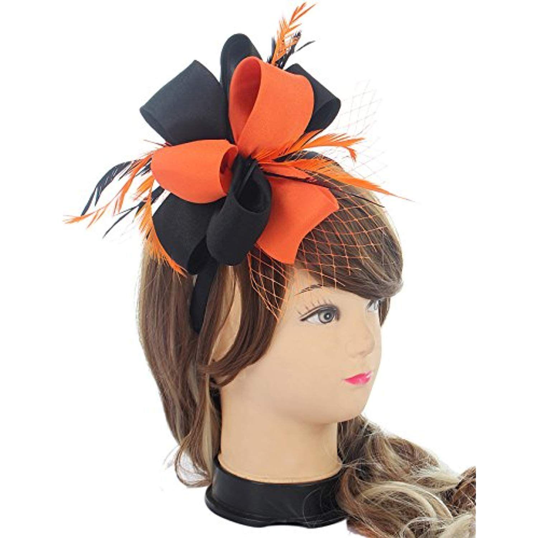 4283b0bc212c Fascinator Hats for Women Feather Kentucky Derby Headband Wedding ...