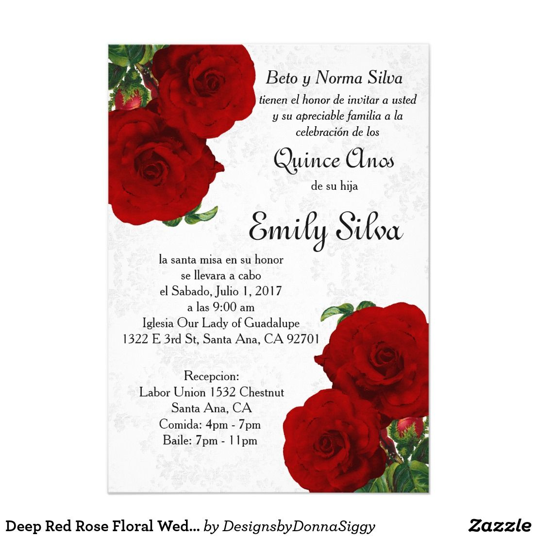 Deep Red Rose Floral Wedding Invitation | Bride | Pinterest | Floral ...