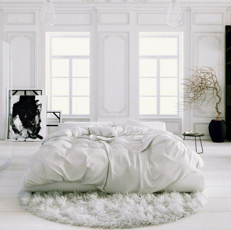 Teppich Schlafzimmer Modern Schlafzimmer Ideen Lila Weiß: Schlafzimmer In Weiß Mit Rundem Shaggy-Teppich, Moderne