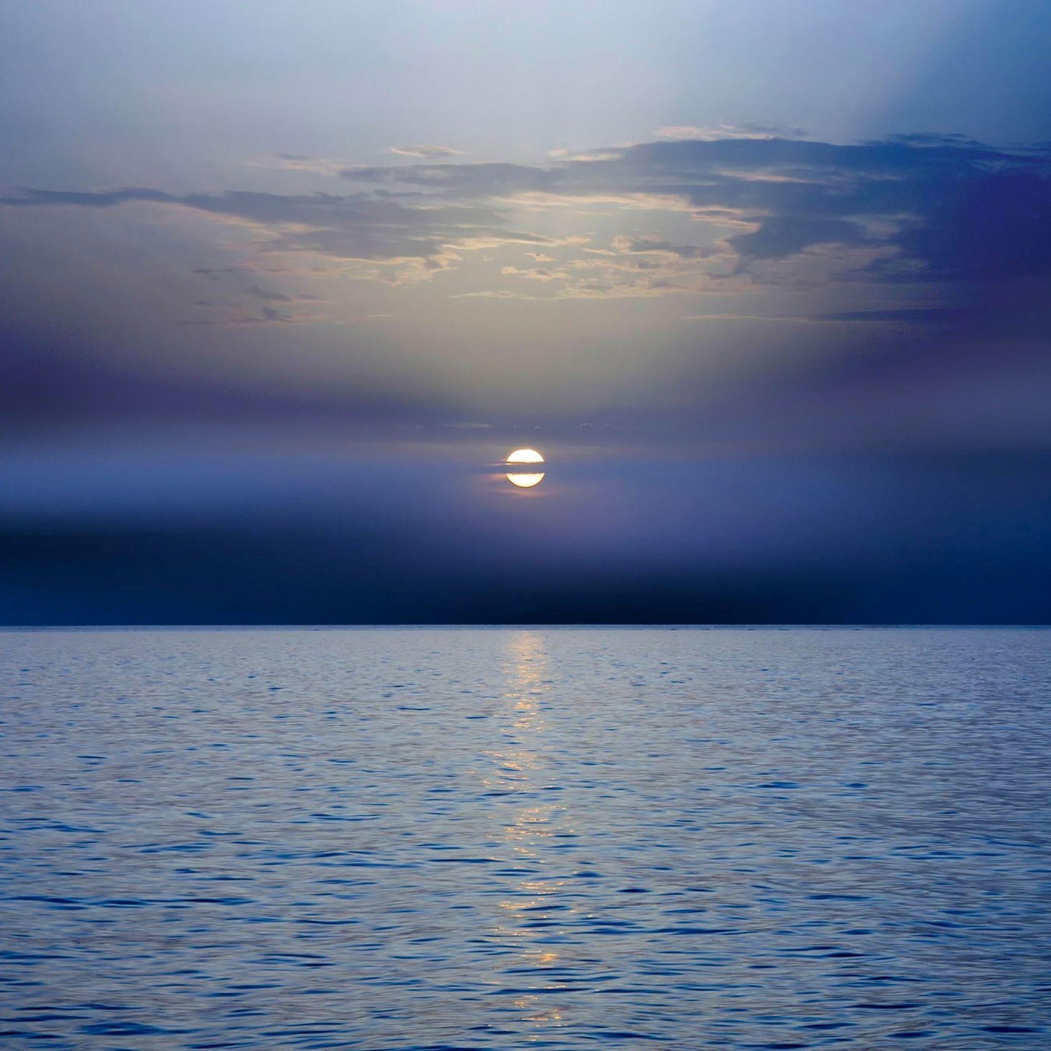 2048x2048 Wallpaper mar, do sol, horizonte, escuro