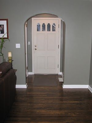 Dark Walnut Floor Color Same As In Kitchen Goes Well With The Gray Wall NB
