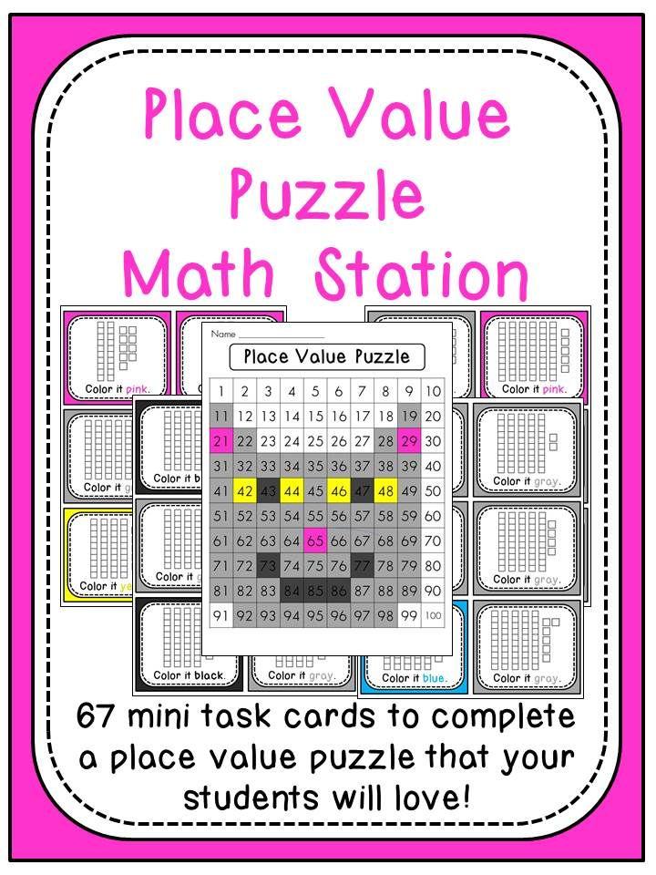 Place Value 100 Chart Puzzle Math Center (Cat) Math