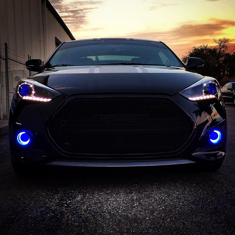 2013 2018 Hyundai Veloster Turbo Halo Fog Lamps Angel Eye Lights Kit Walmart Com Veloster Turbo Hyundai Veloster Hyundai