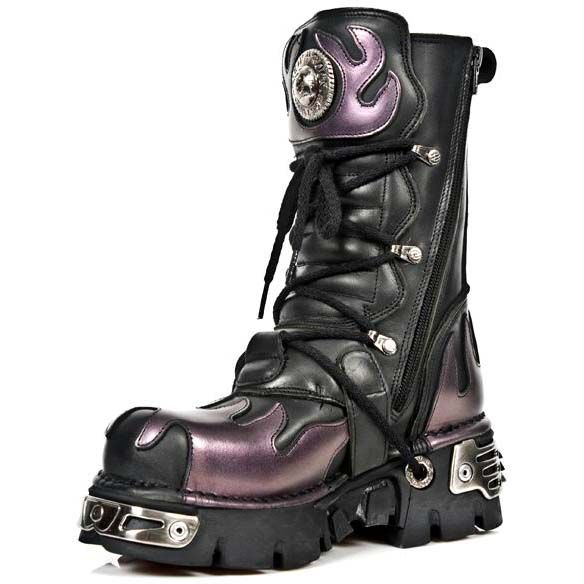 NEW ROCK M 591-S1 CLASSIC BLACK RED FLAME METALLIC LEATHER REAL BIKER GOTH BOOTS