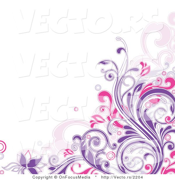 Purple Swirl Border | Vector of Purple and Pink Floral ...