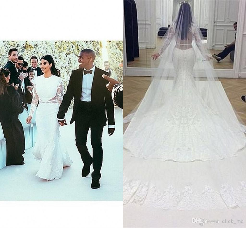 Arabic long sleeve overskirts wedding dresses with sheer for Kim kardashian s wedding dress