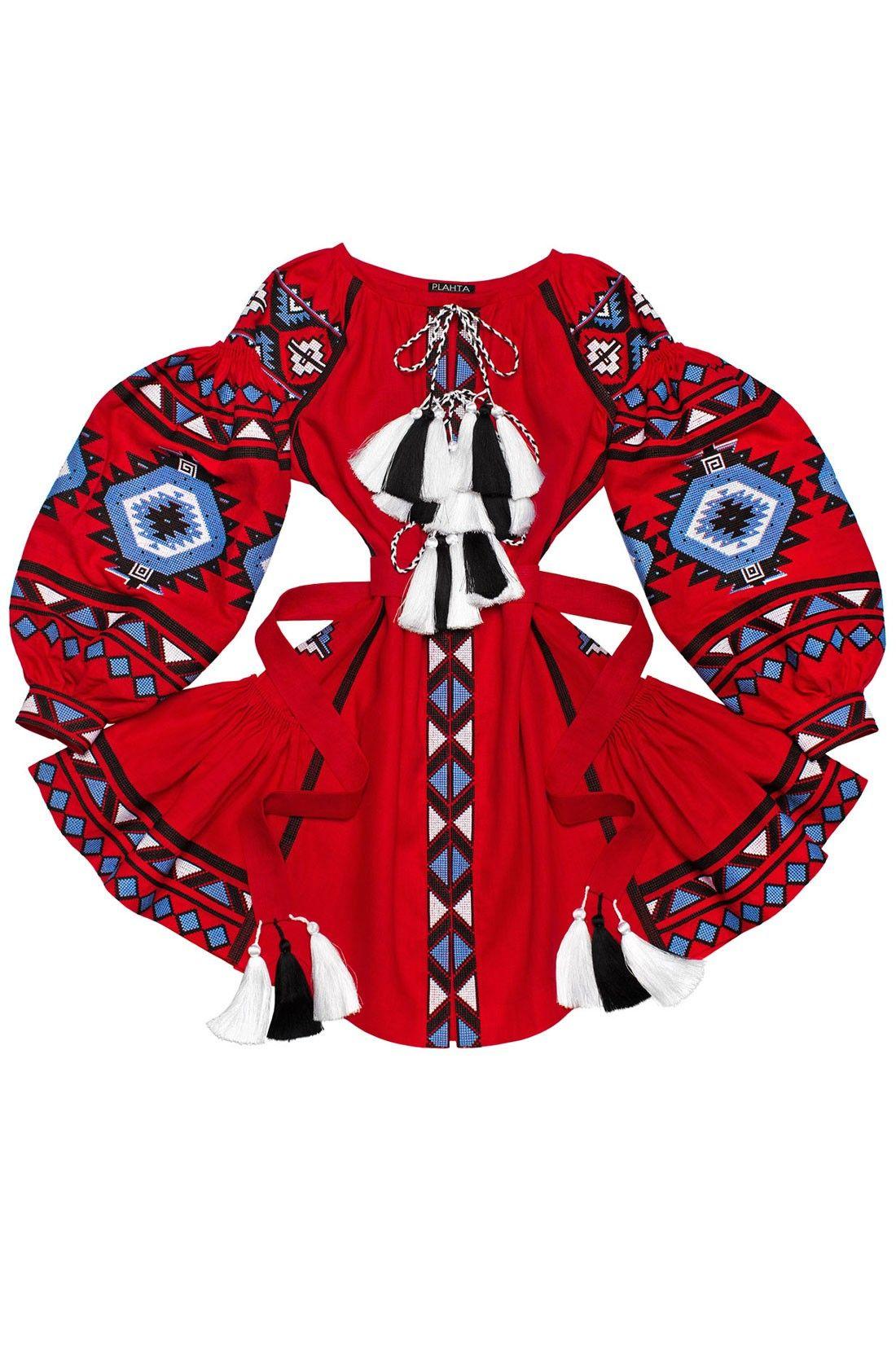 Преміальна яскраво-червона коротка сукня-вишиванка