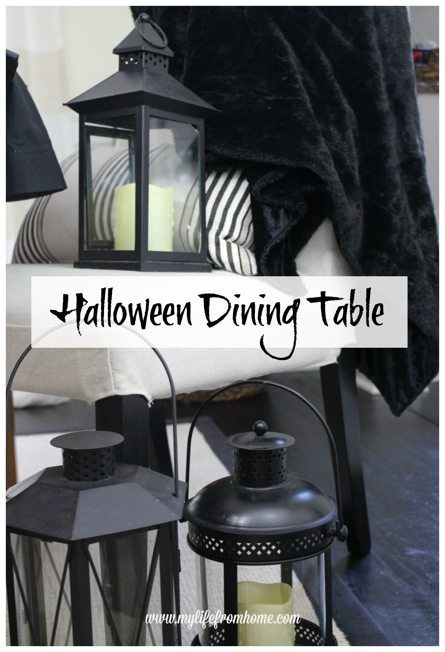 Halloween Tablescape with At Home Halloween table settings - black and white halloween decorations