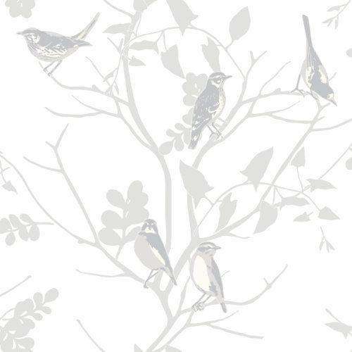 Silver grey white 250626 songbird birds trees branch rasch wallpaper amazon co uk kitchen home