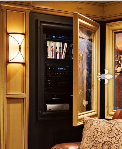 Theater Room With Hidden Projector: Storage Idea For Movie Room. Change To Poster For Sports
