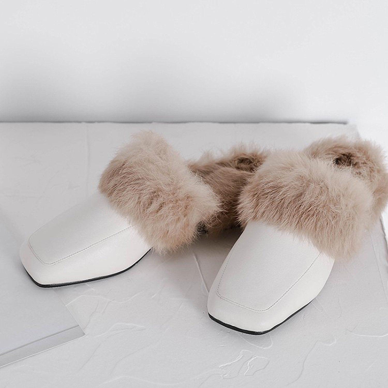 Warm Leather Fur Slippers Mules Fur Slippers Velvet Heels Fur