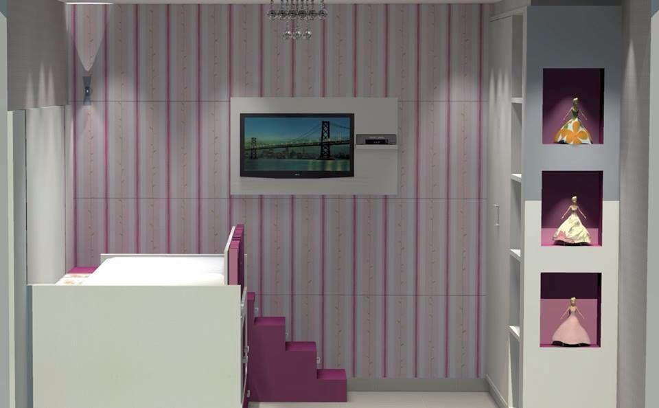 Entrada do quarto é vista da tv