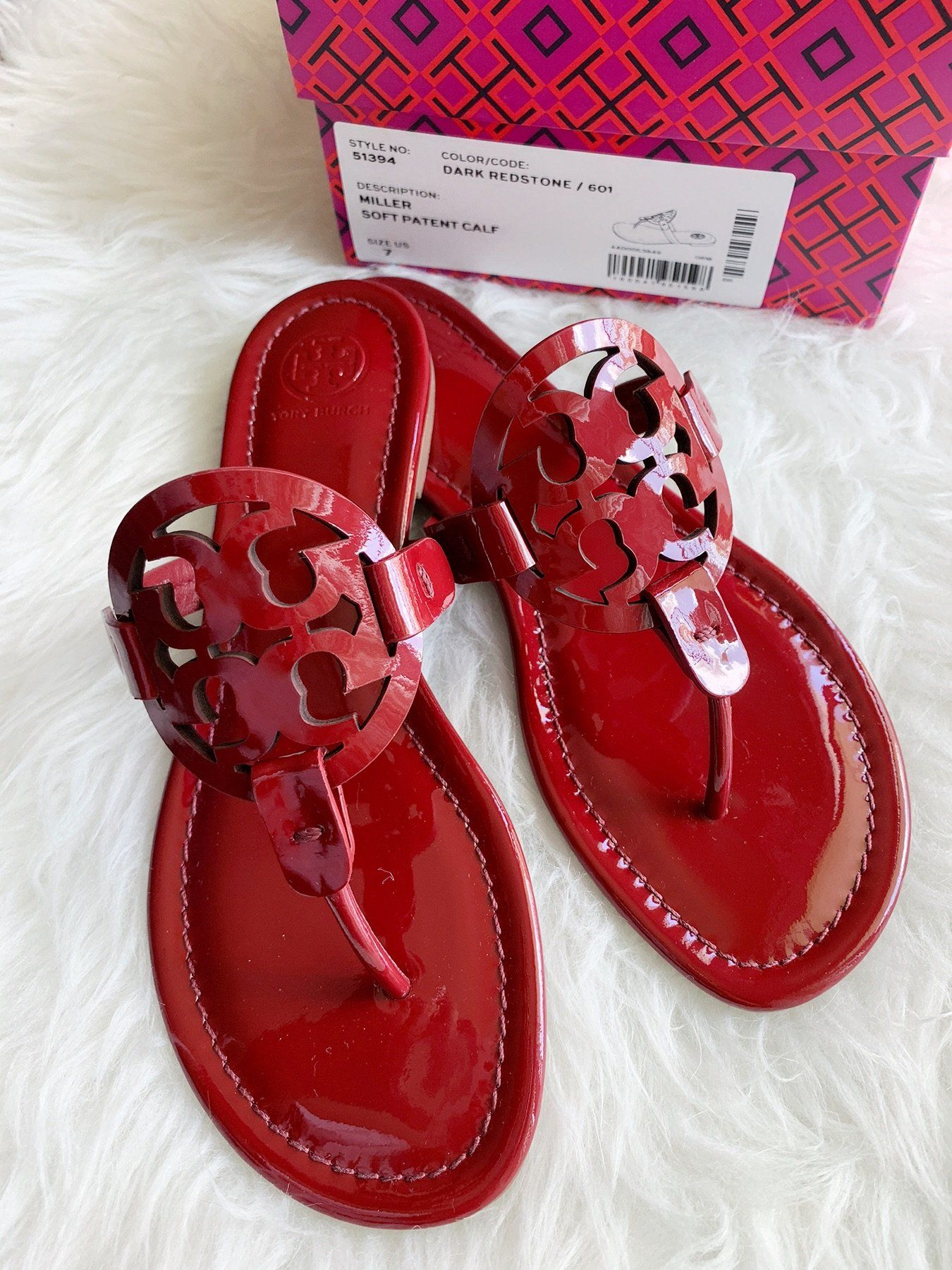 bbfe741f7914 Tory Burch Miller Sandals Flip Flop Dark Red Stone 7  ebayseller   tradesyseller  rated  ebaycommunity  toprated  ebayfashion  Handbags   poshpackages ...