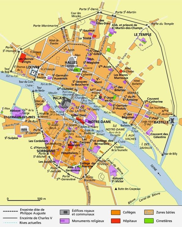 Principaux sites de Paris au XVe siècle.