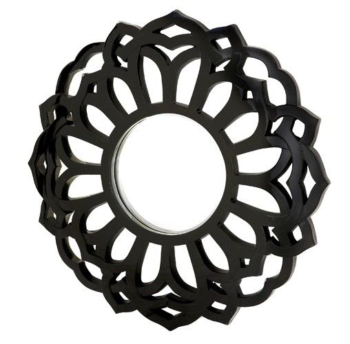 Majestic Mirrors Round Flower Mirror Black